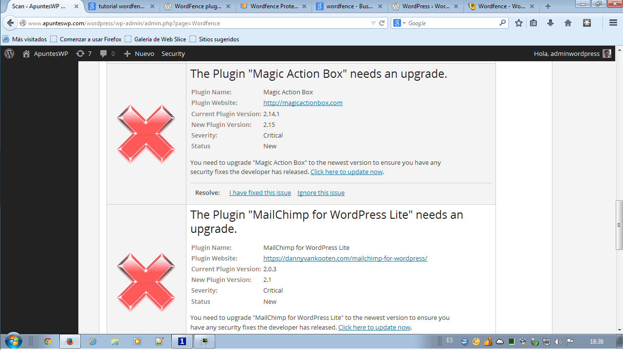 Lista de problemas detectados por Wordfence