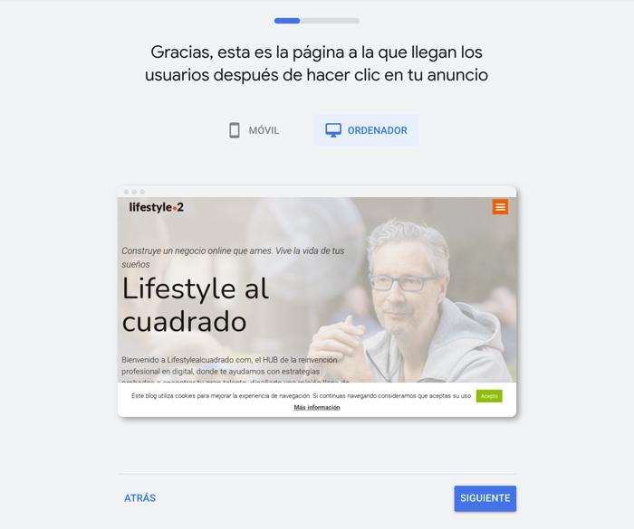 Web de destino en Google Ads